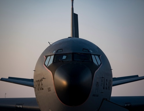 U.S. Air Force KC-135 Stratotanker aircrew members with the 28th Expeditionary Air Refueling Squadron perform preflight inspections on a Stratotanker at Al Udeid Air Base, Qatar, Dec. 3, 2019. (Staff Sgt. Daniel Snider/U.S. Air Force)