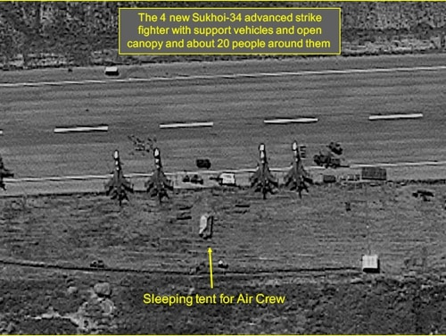 Satellite imagery dated Oct. 3, 2015 shows extensive Russian presence in Latakia International Airport. Four Sukhoi-34 advanced strike fighters on taxiway.