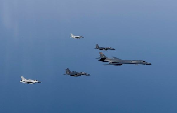 A B-1B Lancer flies in formation with Republic of Korea F-15Ks and F-16s in the vicinity of the Republic of Korea March 21, 2017. The sortie was carried out as part of U.S. Pacific Command's continuous bomber presence mission. (Air Force)