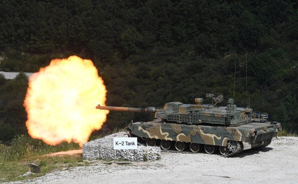 A South Korean K2 tank fires during a live-fire demonstration Sept. 11, 2018. (Jung Yeon-Je/AFP via Getty Images)