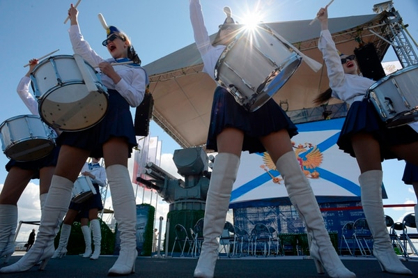 A band performs during the presentation of the ship-based naval anti-aircraft missile and artillery complex Pantsir-ME in Saint Petersburg on June 28, 2017. (Olga Maltseva/AFP via Getty Images)