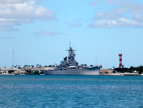 The USS Missouri Memorial is shown in Pearl Harbor, Hawaii, on Aug. 11, 2020. (Caleb Jones/AP)