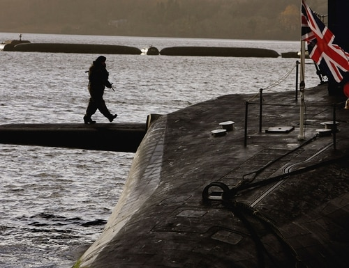 The HMS Vigilant is one of the U.K.'s fleet of Vanguard-class submarines carrying the Trident nuclear missile system. (Jeff J. Mitchell/Getty Images)