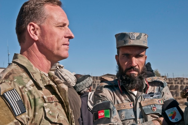 Then-Brig. Gen. Scott Howell, Special Operations Joint Task Force-Afghanistan deputy commanding general, talks to Afghan National Security Force officers after a shura in Paktiya province, Afghanistan. (Sgt. J.R. Fisher/Army)