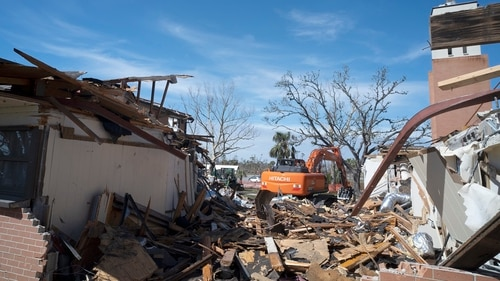 The Tyndall Air Force Base chapel remains a pile of rubble following a demolition project at Tyndall Air Force Base, Fla., Feb. 11, 2019. The chapel was left in shambles after the base took a direct hit from Hurricane Michael, a category 4 storm, Oct. 10. The chapel's demolition marked the beginning of a long process to clear out damaged structures to make way for new construction. (Senior Airman Javier Alvarez/U.S. Air Force)