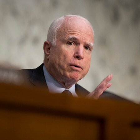 Sen. John McCain, R-Ariz., says that for eight years, the Senate Armed Service Committee has been waiting for a cyber policy and strategy. (Evan Vucci/AP)