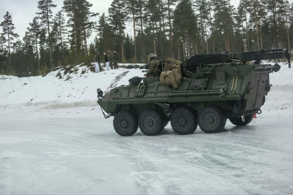 U.S. Marines with Combined Arms Company break loose their Light Armored Vehicles during the ice driving course in Rena, Norway, Feb. 17, 2016. The Marines were getting behind the wheel on the icy pathway in order to understand how to control their heavy vehicles on the slick terrain. The Marines worked and learned alongside members of the Norwegian Army in order to better understand how one another operate. (U.S. Marine Corps photo by Cpl. Dalton A. Precht/released)