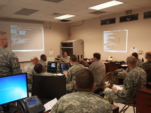 Airmen and Soldiers from the North Carolina National Guard train for Cyber Guard 15, conducting a