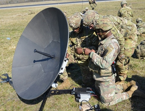U.S. Army Paratroopers assigned to 1st Battalion, 503rd Infantry Regiment, 173rd Airborne Brigade, assemble a satellite antenna after an airborne operation from a U.S. Air Force 86th Air Wing C-130 Hercules aircraft, during exercise Eagle Sokol at Cerklje Drop Zone in Slovenia, Mar. 22, 2019. A new report highlights cybersecurity vulnerabilities for space assets used by NATO countries. (Paolo Bovo / U.S. Army)