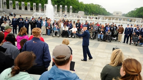 Lt. Gen. Arnold Bunch Jr. speaks to the Honor Flight participants and onlookers at the World War II Memorial in Washington, D.C. in 2016. A pair of lawmakers this week voiced concerns that groups like the Honor Flight veterans are being harassed by National Park Service employees over visitor permit issues. (Tech. Sgt. Bryan Franks/Air Force)