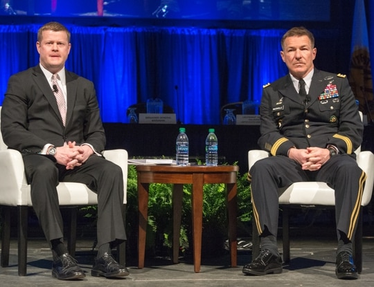 Army Secretary Ryan D. McCarthy and Gen. James C. McConville at the opening ceremony of the 2018 Association of the U.S. Army Global Force Symposium and Exhibition, March 26, 2018.
