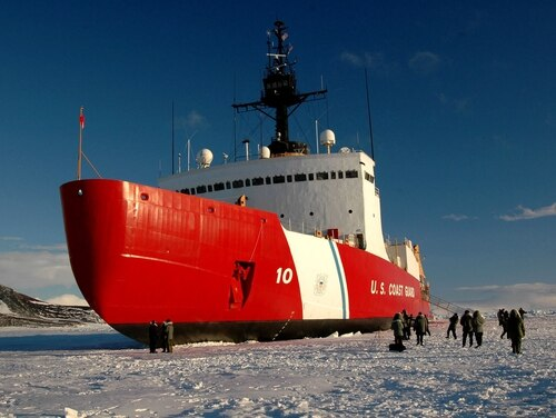 The Coast Guard Cutter Polar Star sits hove-to on the ice outside McMurdo Station, Antarctica, on Feb. 16, 2006. (Mariana O'Leary/U.S. Coast Guard)