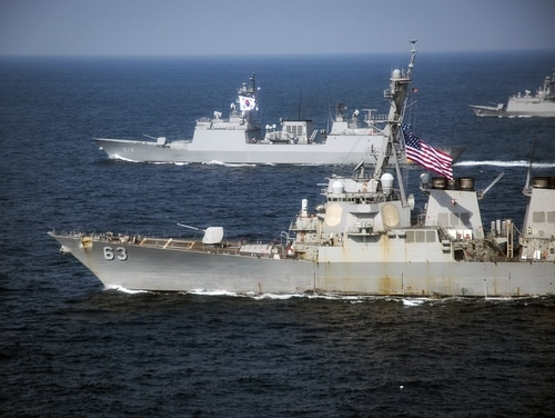 United States and the Republic of Korea Navy vessels participate in a photo exercise on March 22, 2017, during Exercise Foal Eagle. (MC2 Z.A. Landers/Navy)