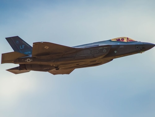 An F-35A flies over Luke Air Force Base, Arizona, Aug. 21. The commander of the 56th Fighter Wing has lifted an altitude restriction on the Lightning II's at Luke, which was imposed in June after multiple incidents of pilot oxygen deprivation.