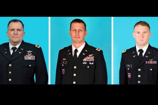 Three National Guardsmen were killed when their helicopter crashed in Mendon, NY, Jan. 20, 2021. They are, from left: Chief Warrant Officer 5 Steven Skoda, 54; Chief Warrant Officer 4 Christian Koch, 39 and Chief Warrant Officer 2 Daniel Prial, 30. (New York State Division of Military and Naval Affairs via AP)