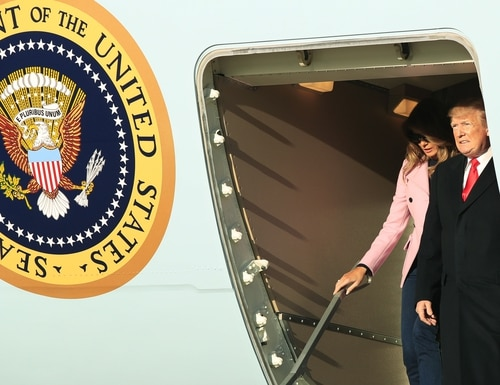 President Donald Trump and first lady Melania Trump disembark Air Force One upon arrival at Andrews Air Force Base, Md., Sunday, March 31, 2019. (Manuel Balce Ceneta/AP)