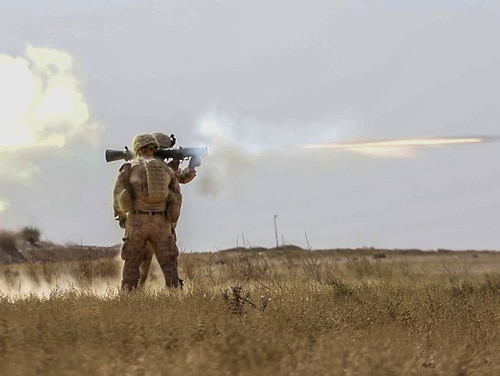 U.S. Marines train with a Carl Gustaf recoilless rifle in Deir ez-Zor province, Syria, Oct. 9, 2018. U.S. forces in Syria have exercised