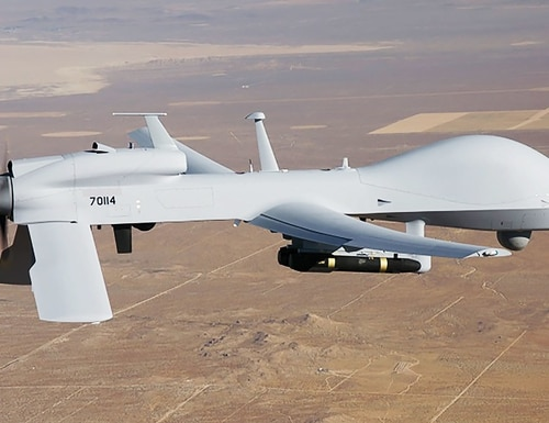The Army's fiscal 2022 budget cuts procurement for the MFEW jamming and cyber pod flown on a Gray Eagle unmanned aircraft. (U.S. Army)