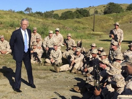 Defense Secretary Jim Mattis talks to U.S. Marine Corps troops at a rifle range at Guantanamo Bay, Cuba, on Dec. 21. 2017. (Robert Burns/AP)