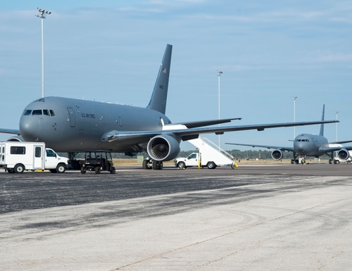 Two KC-46 Pegasus aircraft from McConnell Air Force Base, Kan., sit on the flightline at MacDill Air Force Base, Fla., on Jan. 29, 2020. (Airman 1st Class Ryan C. Grossklag/U.S. Air Force)