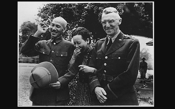 In Burma, Generalissimo and Madame Chiang Kai Shek and then-Lt. Gen. Joseph W. Stilwell, Commanding General, China Expeditionary Forces, on April 19, 1942 in Burma. (National Archives)