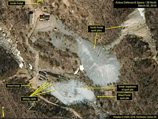 This satellite image released and notated by Airbus Defense & Space and 38 North on March 30, 2018, shows the Punggye-ri nuclear test site in North Korea. North Korea said Saturday, May 12, 2018, that it will dismantle its nuclear test site between May 23 and 25, in a dramatic event that would set up leader Kim Jong Un's summit with President Donald Trump next month. (Airbus Defense and Space/38 North via AP)