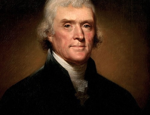 A painting of Thomas Jefferson, circa 1800, by Rembrandt Peale.