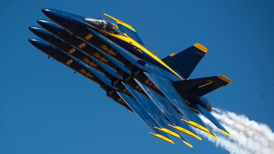 The U.S. Navy flight demonstration squadron, the Blue Angels, perform the Echelon Parade maneuver on March 16, 2019, during a demonstration at the El Centro Airshow at Naval Air Facility El Centro, Calif. (Mass Communication Specialist 2nd Class Timothy Schumaker/Navy)