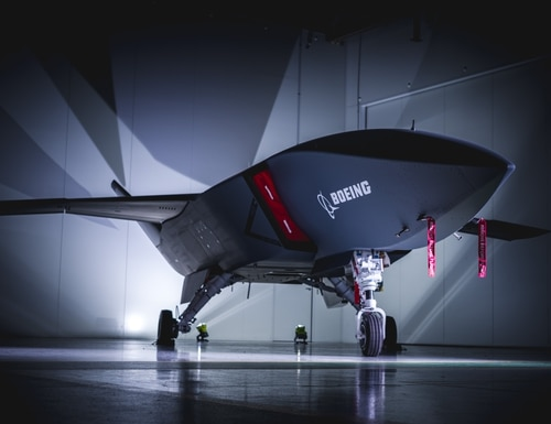 Boeing rolled out the first Airpower Teaming System unmanned aircraft for the Royal Australian Air Force on May 5, 2020. (Boeing)