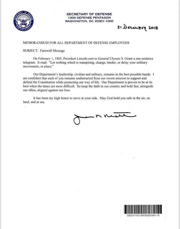 A farewell letter to all DoD employees from outgoing Secretary of Defense Jim Mattis. (Department of Defense)