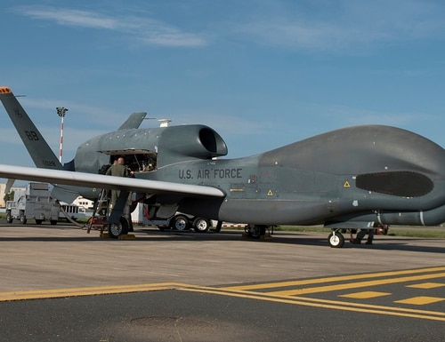 Members of the 7th Reconnaissance Squadron prepare to launch an RQ-4 Global Hawk at Naval Air Station Sigonella, Italy, on Oct. 24, 2018. (Staff Sgt. Ramon A. Adelan/U.S. Air Force)