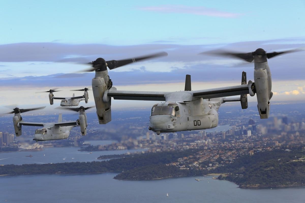Mv 22b Osprey Aircraft Fly Above The Pacific Ocean Off Coast Of Sydney Australia Lance Cpl Amy Phan Marine Corps