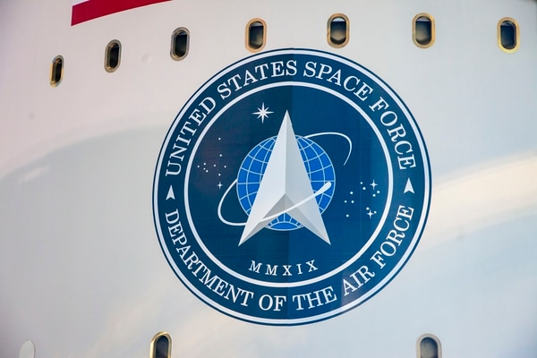 The logo of the United States Space Force is seen on the side of United Launch Alliance's Atlas V rocket. (Jeff Spotts/United Launch Alliance)