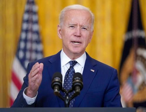 In this April 15, 2021, photo, President Joe Biden speaks in the East Room of the White House in Washington.(Andrew Harnik/AP)
