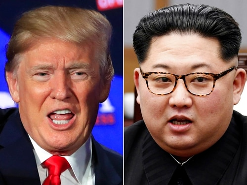 This combination of two file photos shows U.S. President Donald Trump, left, speaking during a roundtable discussion on tax cuts in Cleveland May 5, 2018, and North Korean leader Kim Jong Un, right, talking with South Korean President Moon Jae-in in Panmunjom, South Korea, April 27, 2018. (Manuel Balce Ceneta/Korea Summit Press Pool via AP)