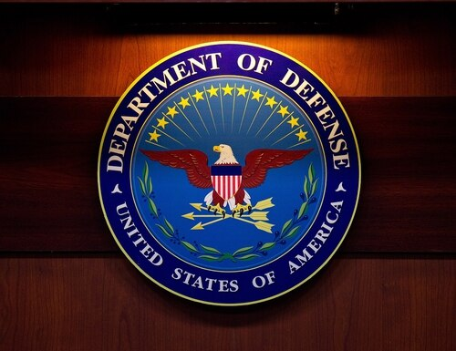 A plaque of the Department of Defense seal is seen Jan. 26, 2012, at the Pentagon in Washington. (Mandel Ngan/AFP via Getty Images)