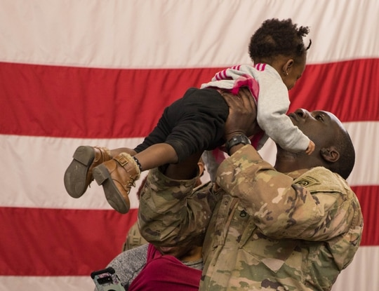 Dozens of friends and family gathered to welcome home 82nd Airborne Division paratroopers Feb, 20, 2020. (Army)