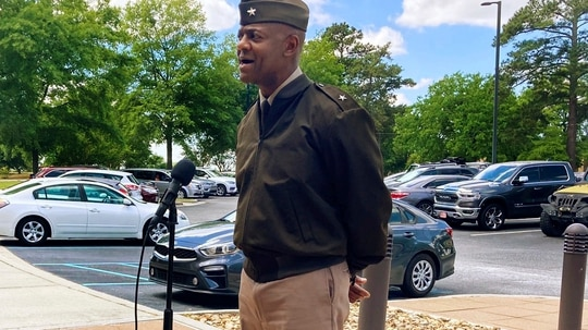 Fort Jackson commander Brig. Gen. Milford Beagle speaks to reporters May 6, 2021, in Columbia, S.C., following the school bus hijacking. (Stephen Fastenau/The Post And Courier via AP)