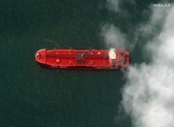 This July 22 photo shows a close up of the British-flagged oil tanker Stena Impero at the Iranian port city of Bandar Abbas. (Satellite image ©2019 Maxar Technologies via AP)