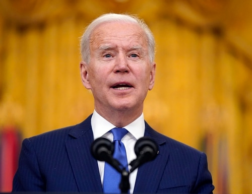 In this March 8, 2021, file photo, President Joe Biden speaks during an event to mark International Women's Day, Monday, March 8, 2021, in the East Room of the White House in Washington. (Patrick Semansky/AP)