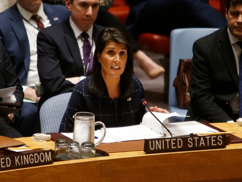 United States Ambassador to the United Nations Nikki Haley once again voiced her stance on the Assad regime after a report confirmed Syria's use of chemical weapons on civilians in an April attack. (Jason DeCrow/AP)