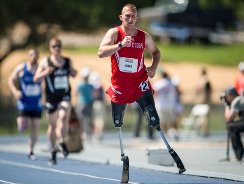 Marine Corps veteran Robert Jones, a native of Lovettsville, Virginia, competes in the 2018 DoD Warrior Games Track Competition at the U.S. Air Force Academy in Colorado Springs, Colorado, June 2. (Cpl. Julien Rodarte/Marine Corps)