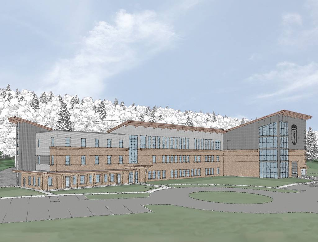 A rendition depicts the design of the $27 million Army Mountain Warfare School, which broke ground Nov. 5, 2020, at the Camp Ethan Allen Training Site in Jericho, Vt. The facility is scheduled be complete in April 2022.