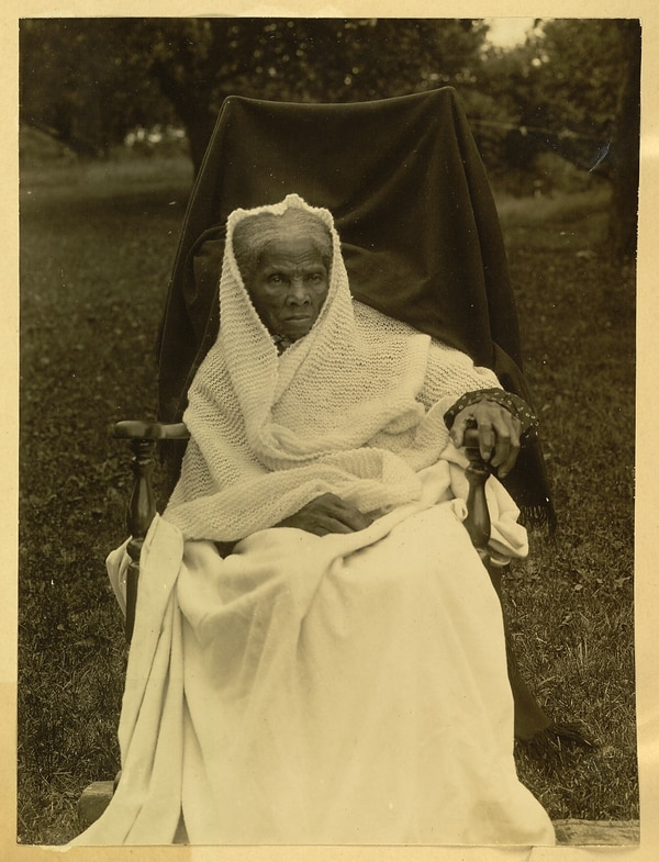 Photograph of Harriet Tubman, seated, with white shawl about her head, 1911. (Library of Congress)