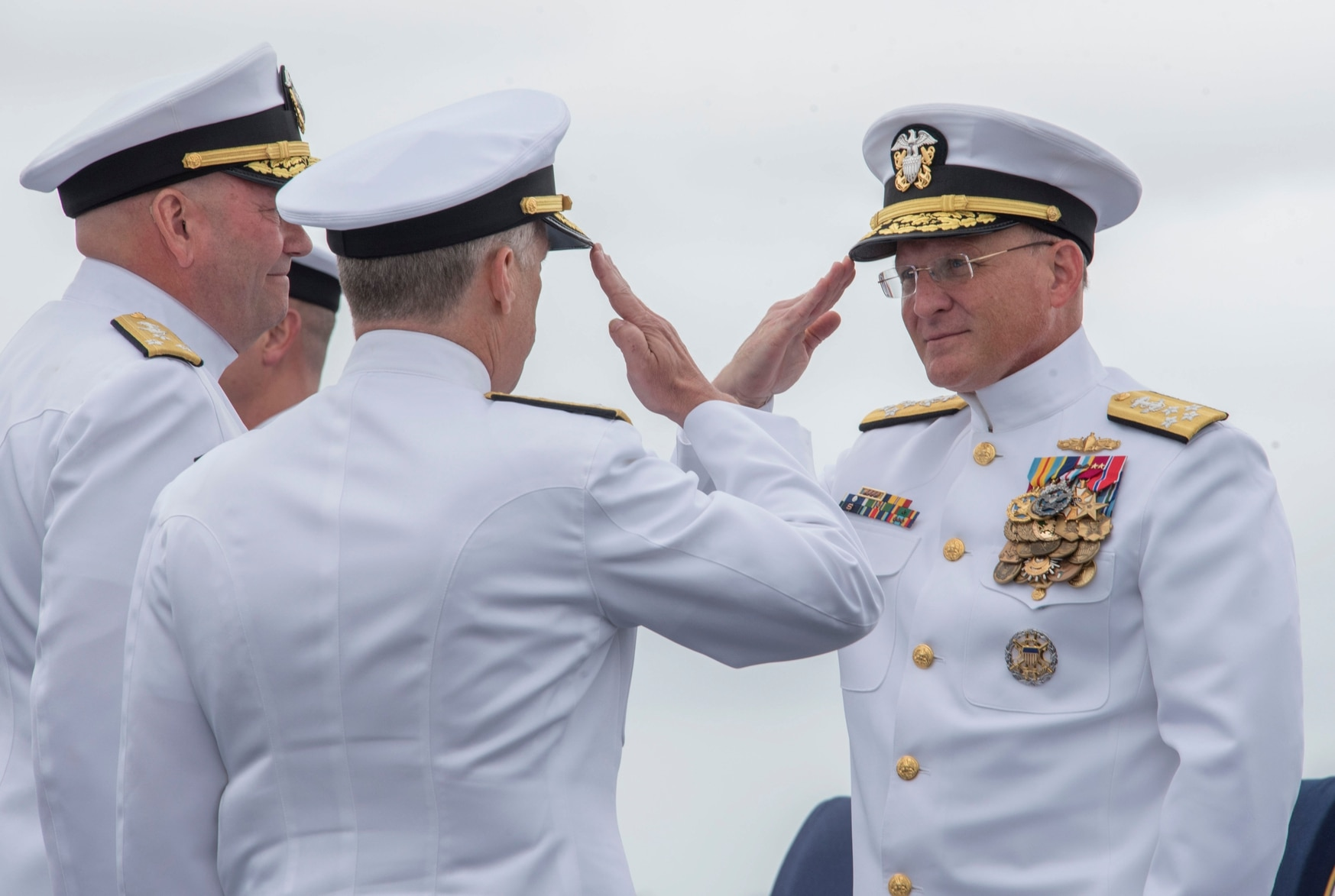 Chief of Naval Operations Adm. Michael Gilday, right, has said the Navy's top-line budget has to grow if the fleet is to add ships. (MC3 Casey Trietsch/U.S. Navy)