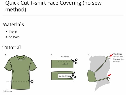 Marine Corps Combat Service Support Schools posted an image showing a no-sew skivvy shirt facemask. (Marine Corps)