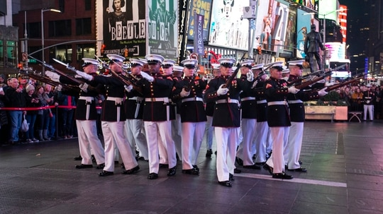 The Marine Corps Silent Drill Platoon performs in Times Square in New York on Nov. 10, 2019, to celebrate the Marine Corps' 244th birthday ahead of Veterans Day. (Cpl. Marvin D. Chavez/Marine Corps)