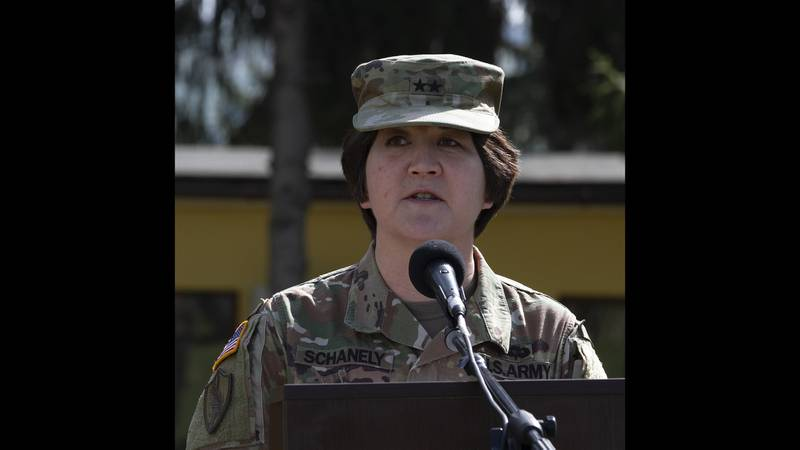 U.S. Army Maj. Gen. Miyako Schanely, commanding general of the 416th Theater Engineer Command, addresses attendees during the opening ceremony of Resolute Castle 2019 at Cincu Joint National Training Center, Romania, April 24, 2019.