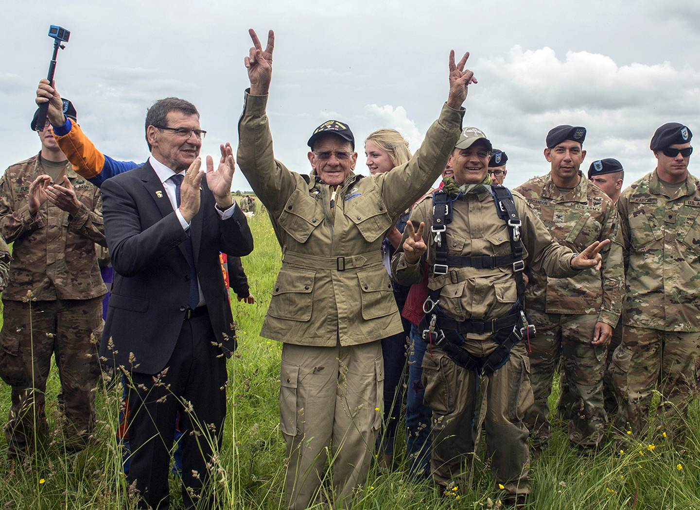 World War II D-Day veteran Tom Rice, from Coronado, Calif., after parachuting in a tandem jump into a field in Carentan, Normandy, France.