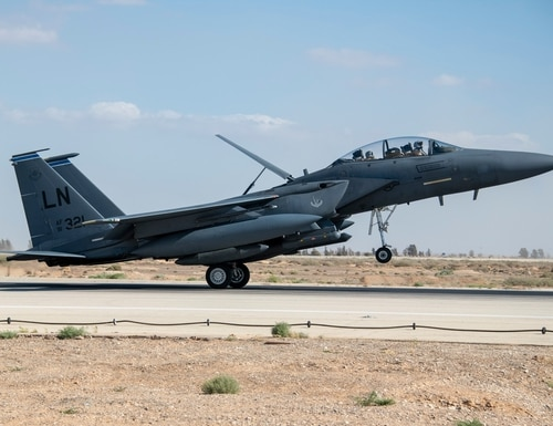 An F-15 from the 492nd Fighter Squadron, part of the 48th Fighter Wing at RAF Lakenheath in England, lands at an unidentified base in Southwest Asia. The Bolars have deployed to support the 332nd Air Expeditionary Wing. (Air Force)